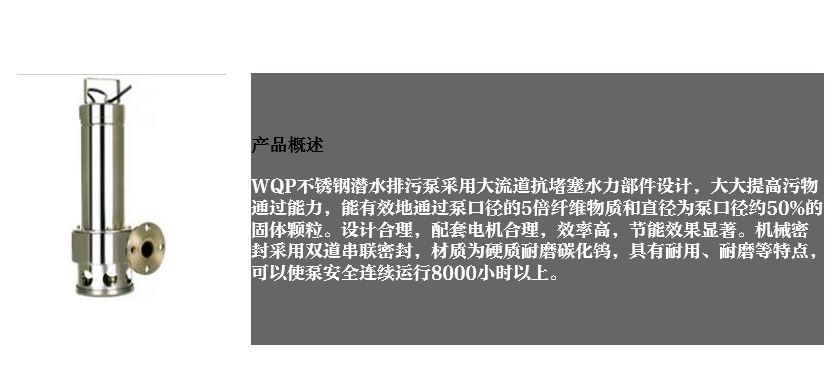 WQP不锈钢无堵塞排污泵产品型号概述