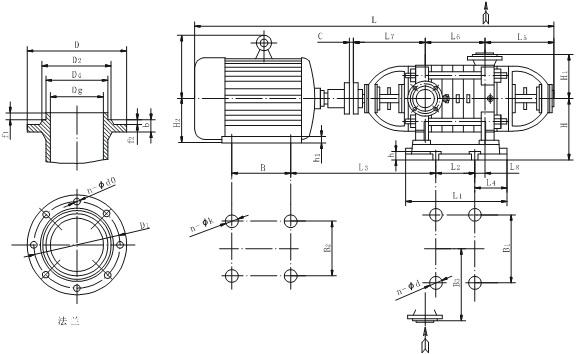 DF型不锈钢多级离心泵本身底座安装尺寸图