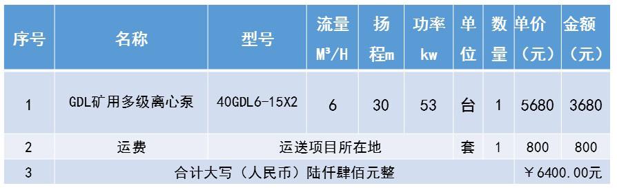 矿用多级离心泵GDL型号价格(报价表)